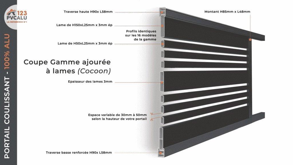 fiche technique portail coulissant aluminium gamme Cocoon