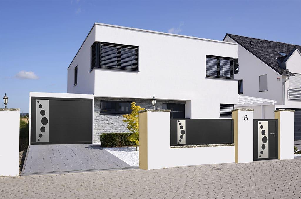 Porte de garage alu sectionnelle isolée Bologne vue d'ensemble