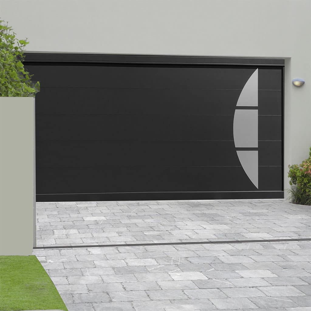 Porte de garage aluminium sectionnelle isolée Arcs