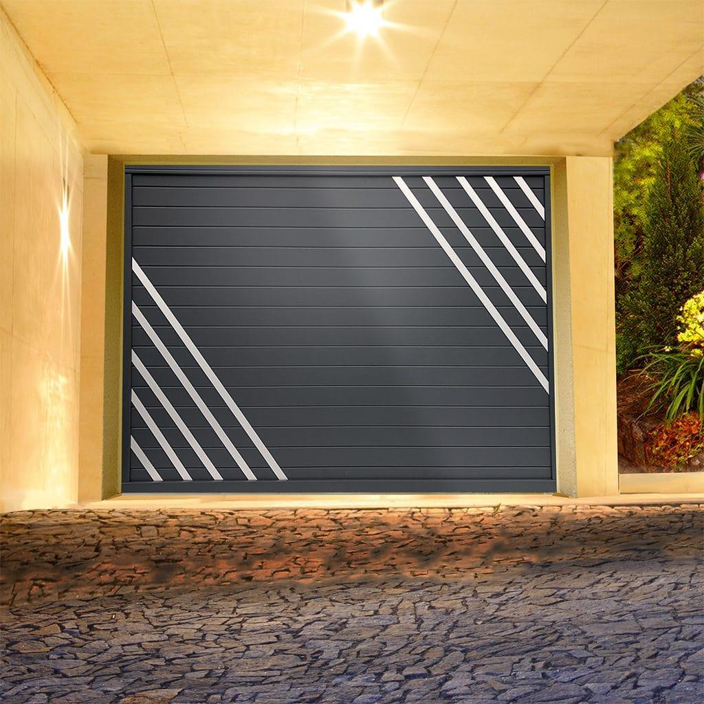 Porte de garage alu sectionnelle isolée diamant