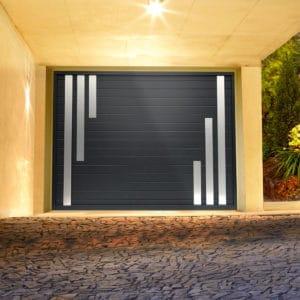 Porte de garage alu sectionnelle isolée Grenat