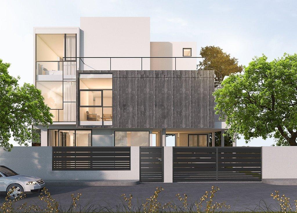 Vue d'ensemble portail coulissant, portillon et clôture aluminium modèles Malines