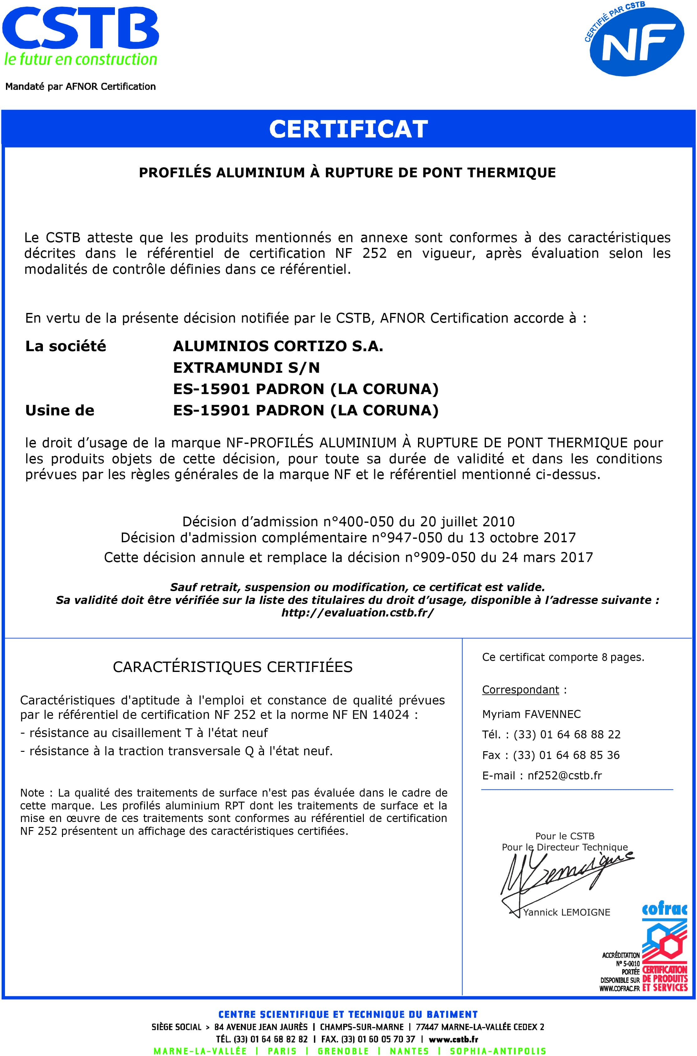 Certification NF CSTB Porte d'entrée aluminium