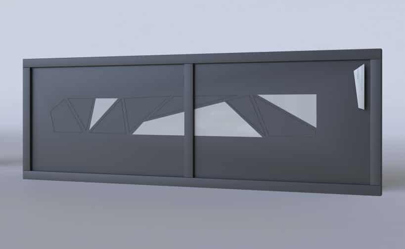 Portail coulissant aluminium Torino vitré