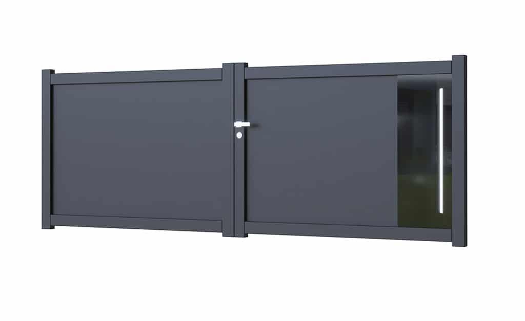 Portail battant aluminium modèle Glass 1