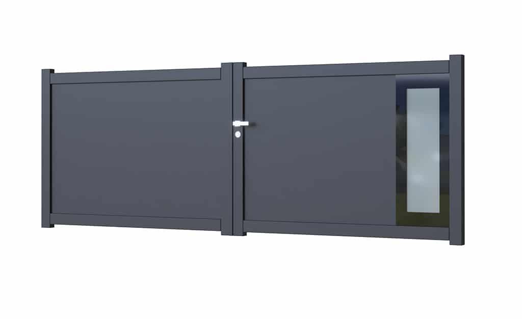 Portail battant aluminium modèle Glass 6